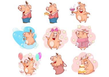 set of Cartoon Pigs on white background, seamless pattern