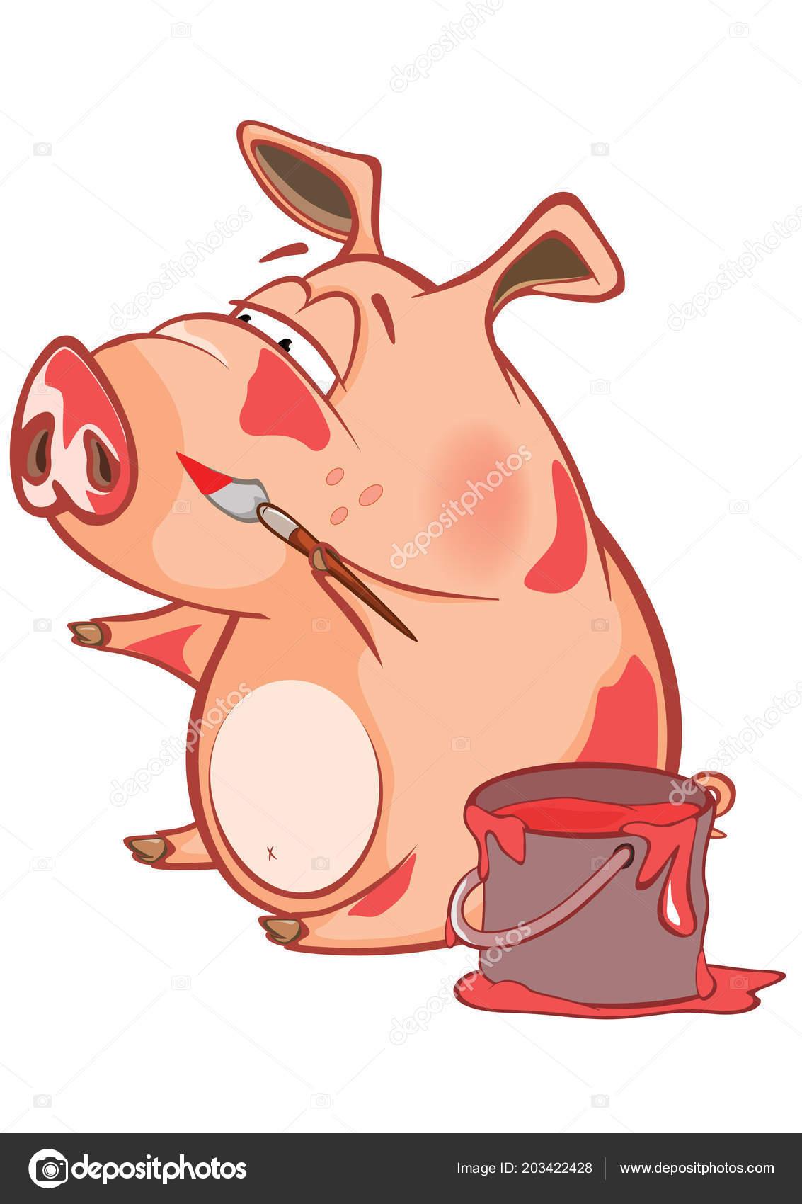 Illustrazione maiale carino con vernice rossa personaggio dei
