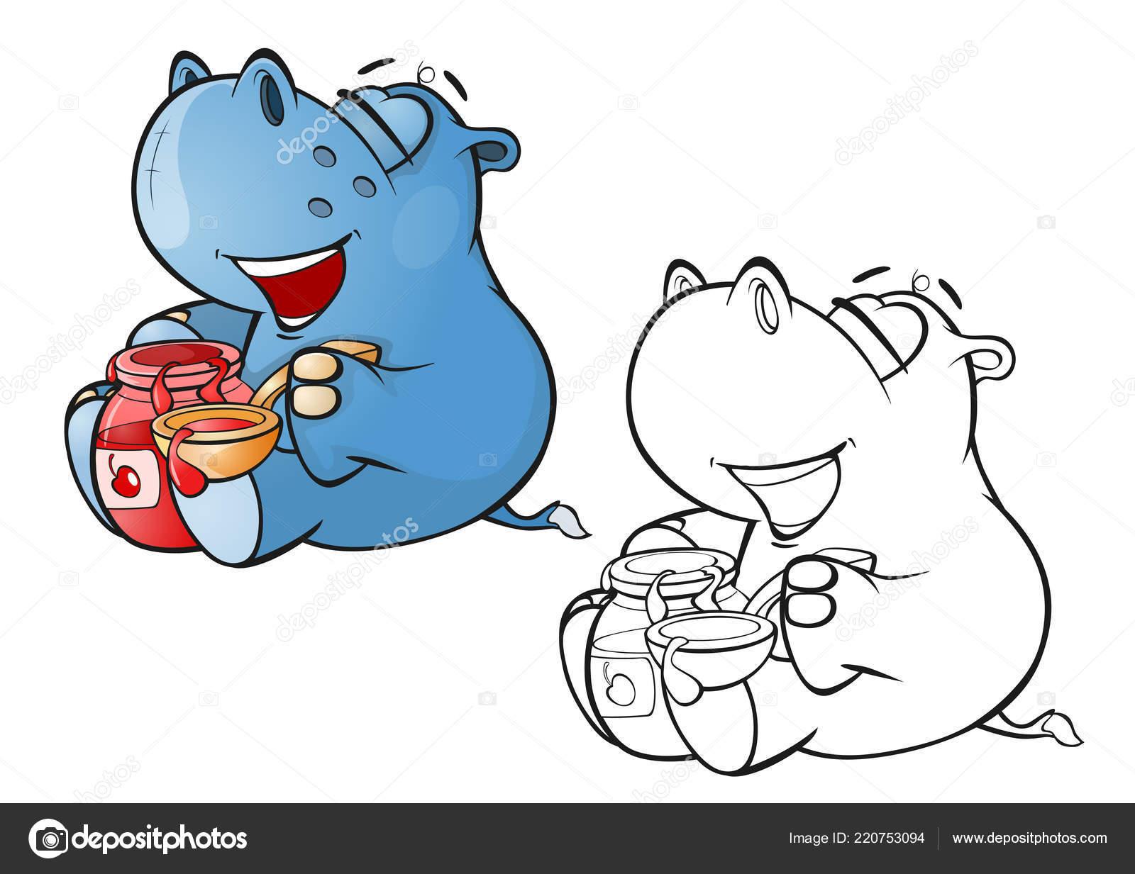 Illustration Vectorielle Mignon Petit Personnage Dessin Animé Hippo