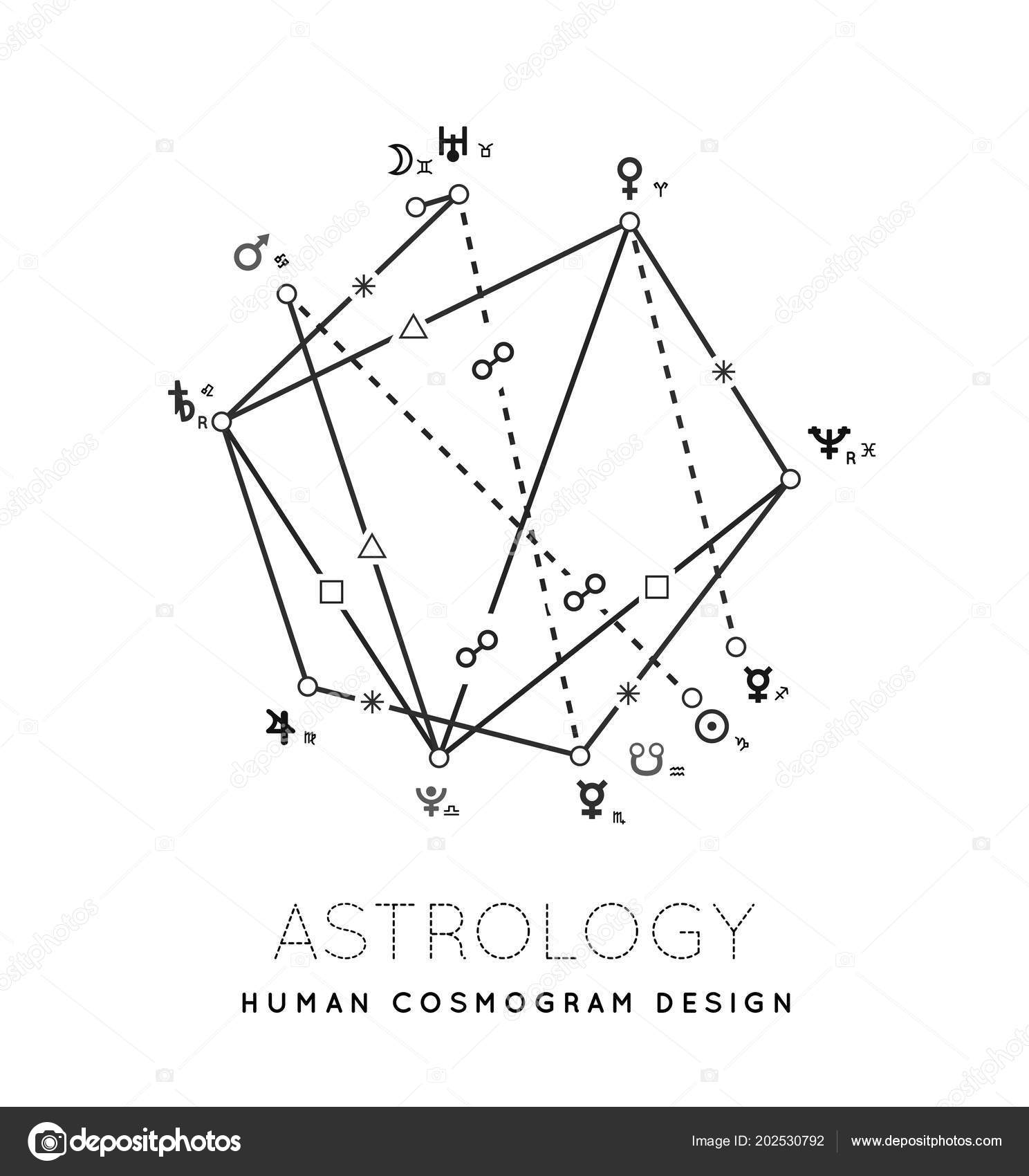 Astrology Vector Background Example Cosmogram Planets Houses