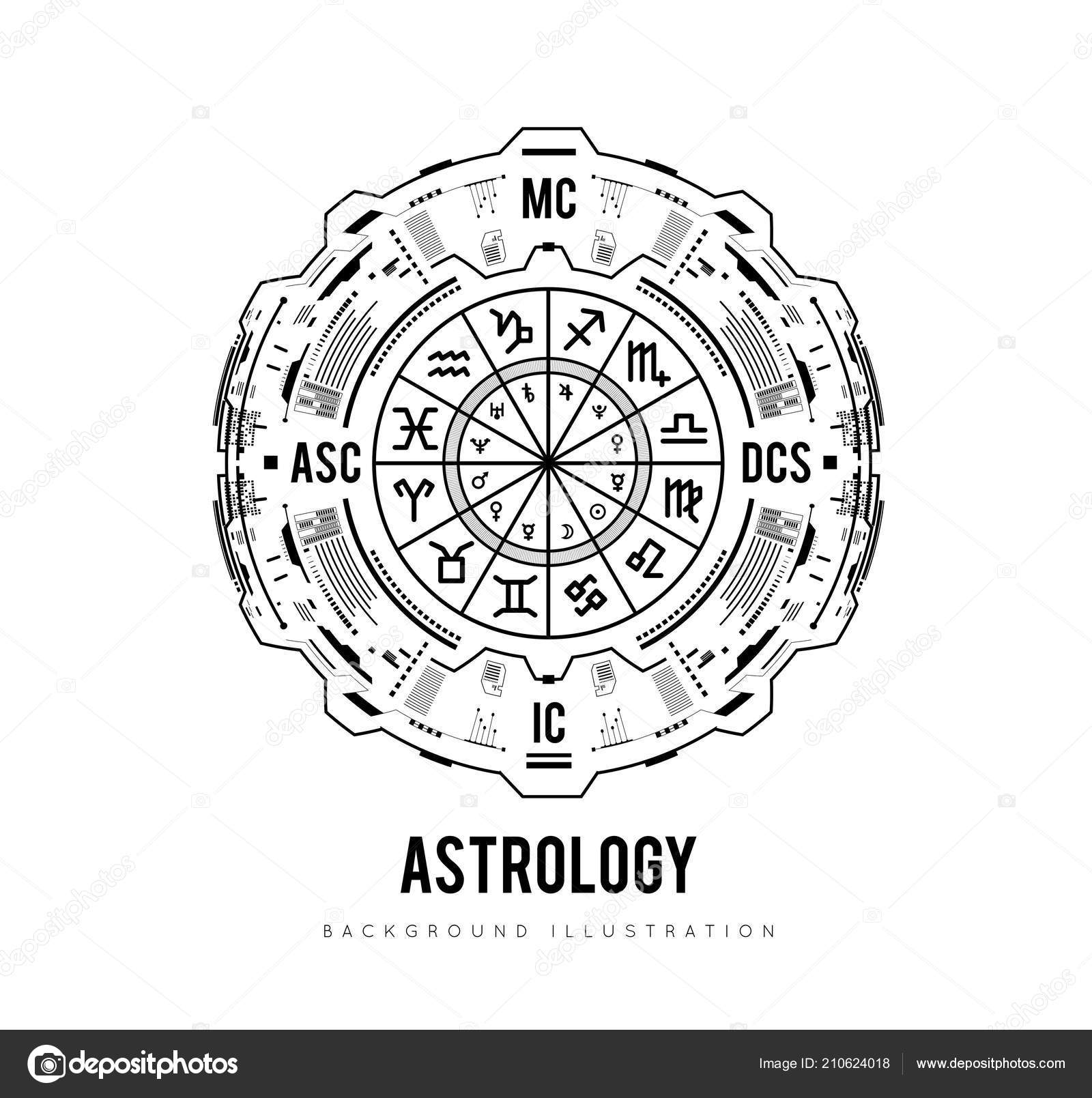 Astrology Background Natal Chart Zodiac Signs Houses Significators Vector Illustration Stock