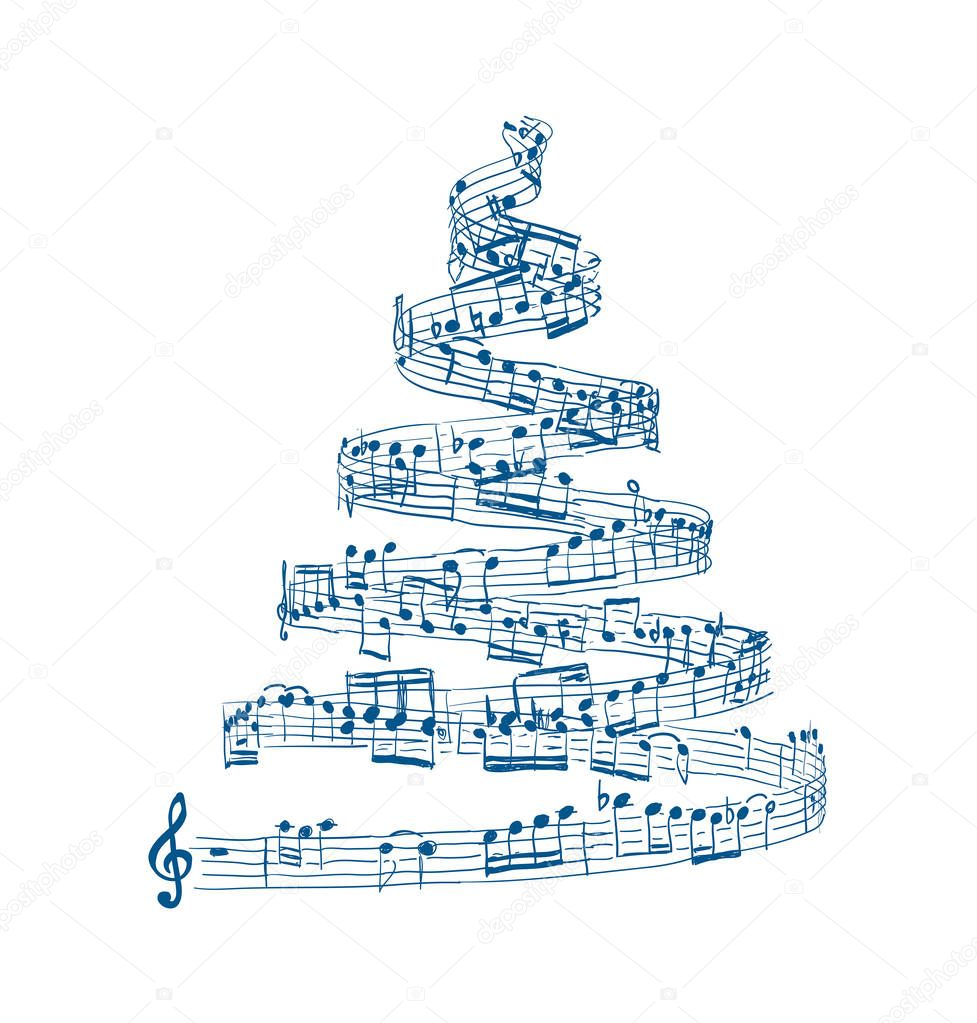 Christmas tree from music notes. Vector illustration on white background
