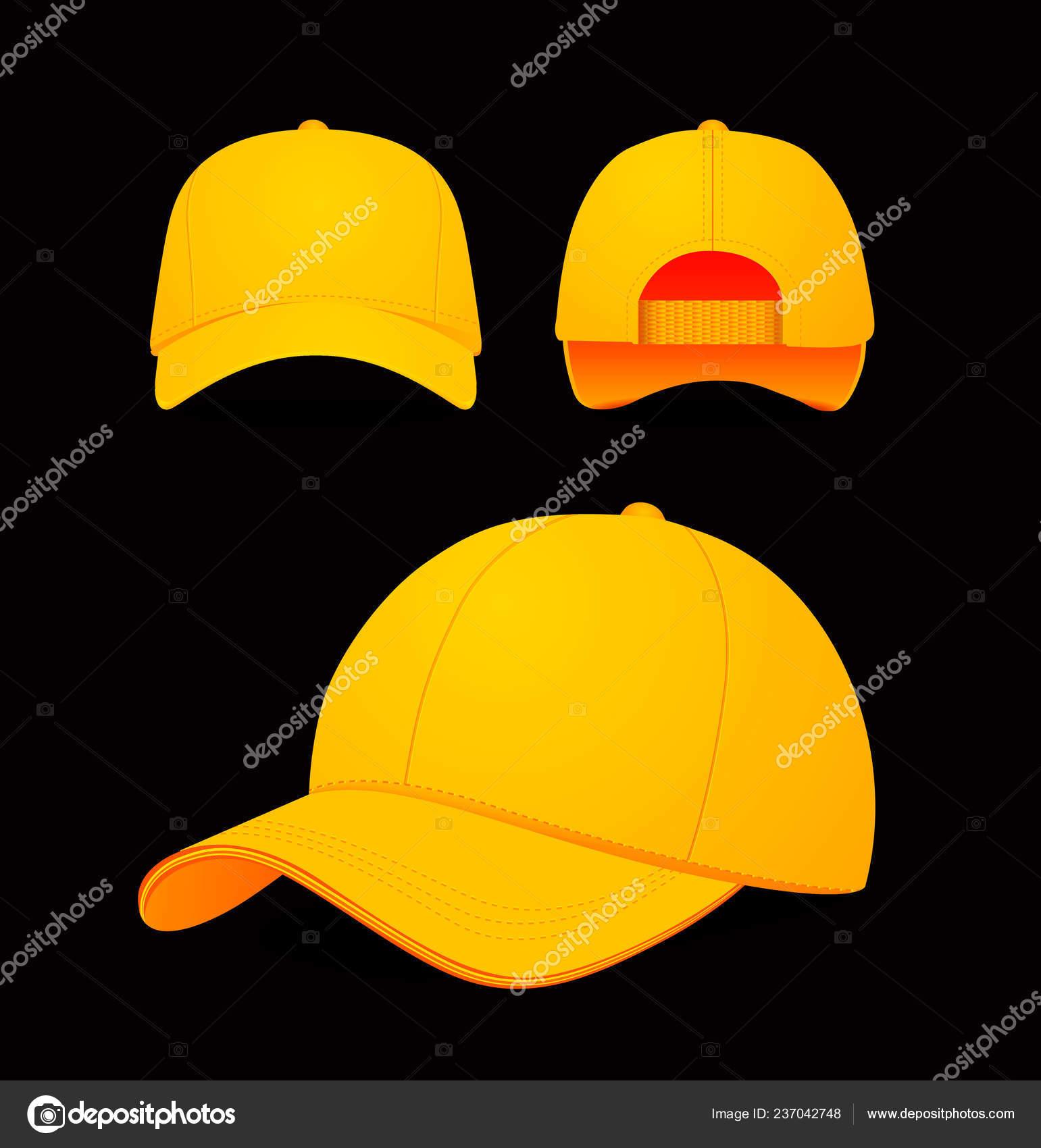 75ba641daa Ilustração em vetor baseball cap em fundo escuro. Projeto de mock-up ...