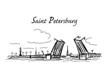 Drawbridge, symbol of Saint Petersburg, Russia. Sketch for your design clip art vector