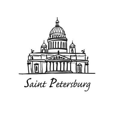 Saint Isaacs Cathedral of Saint Petersburg landmark, Russia. Vector illustration