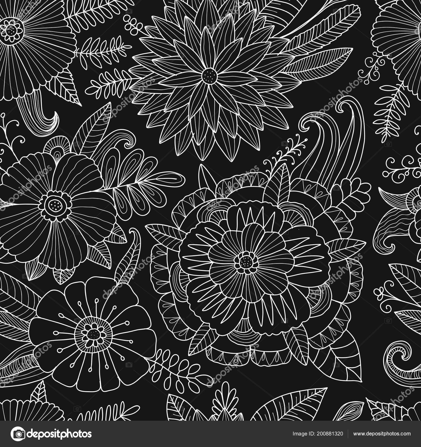 Floral Seamless Pattern, Sketch For Your Design Stock Vector