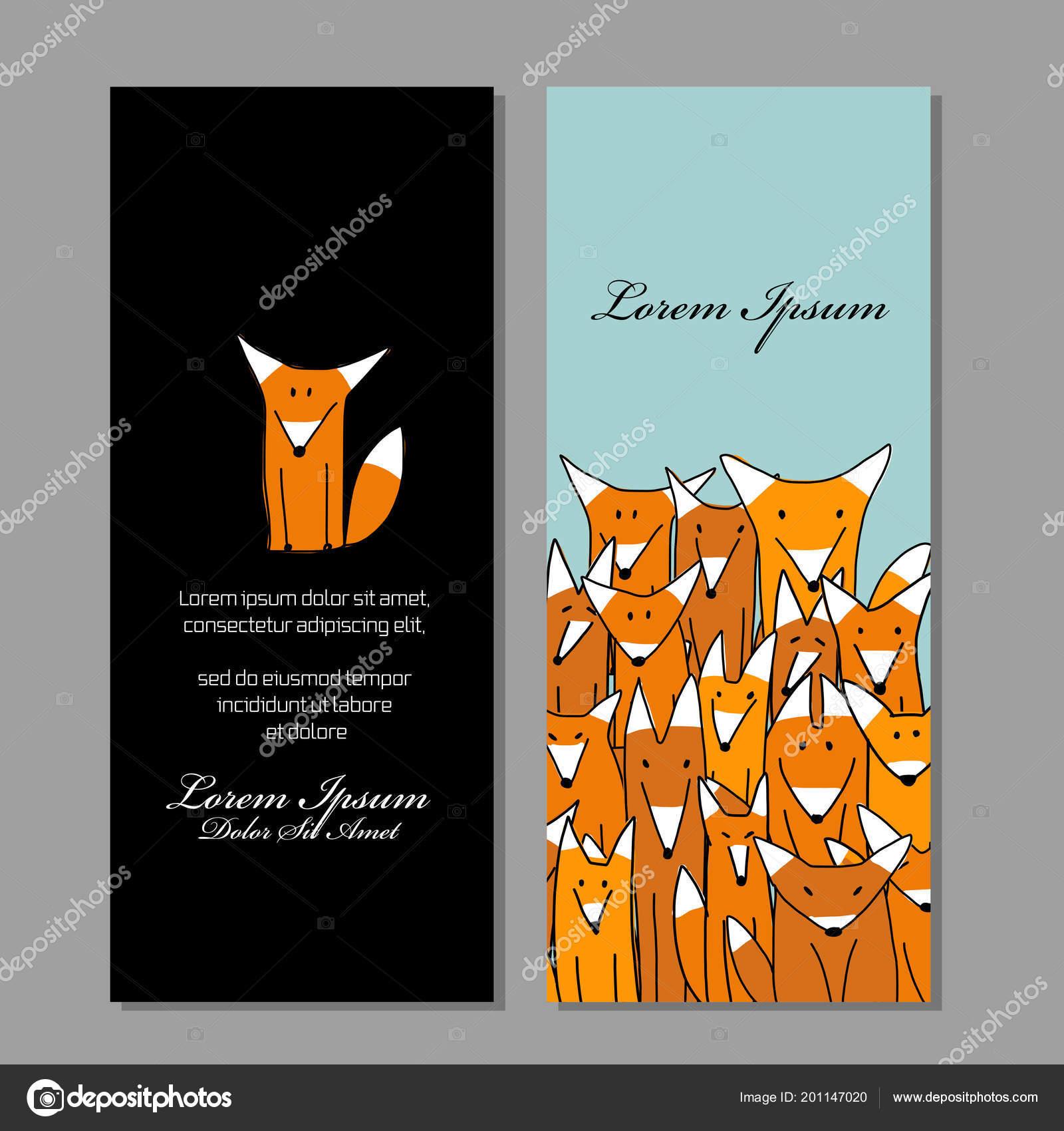 Conception De Cartes Visite Famille Drle Fox Image Vectorielle