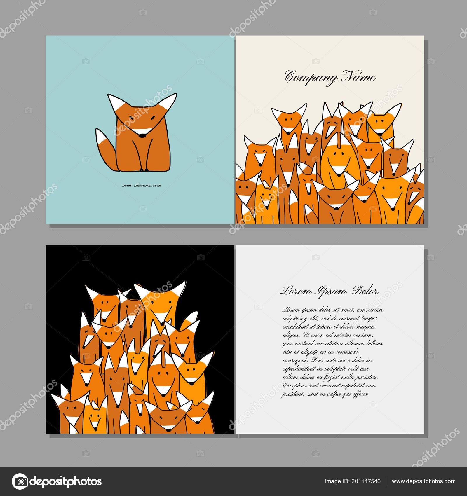 Visitenkarten Design Lustige Fuchsfamilie Stockvektor