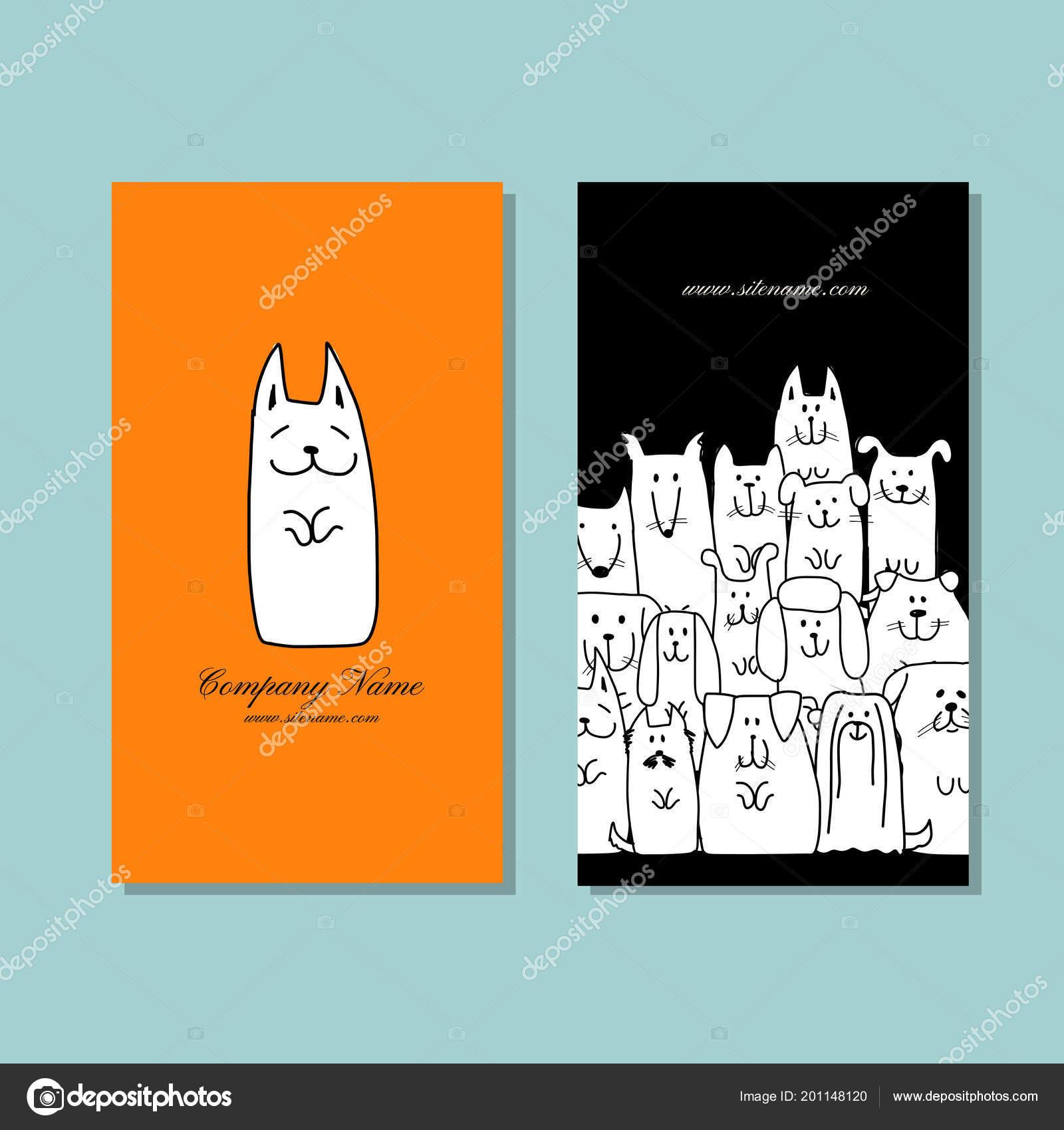 Business cards design, funny dogs family — Stock Vector © Kudryashka ...