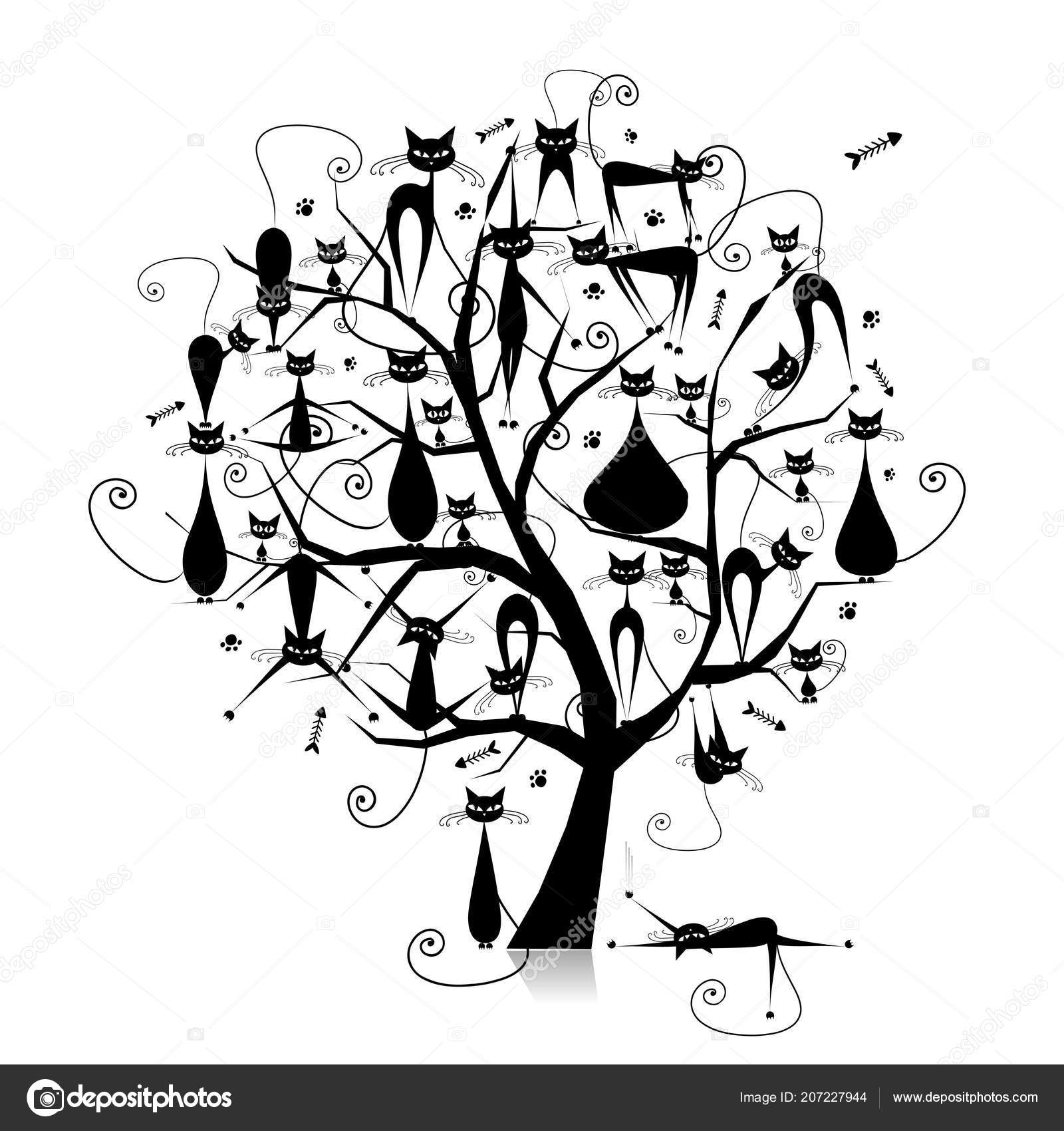 Black Cats On Tree Branches Silhouette For Your Design