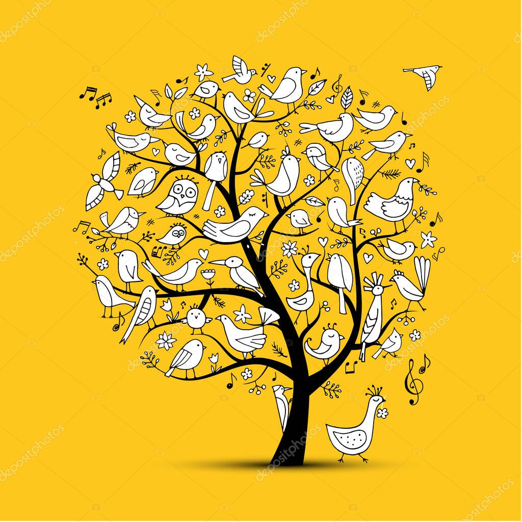 Tree with birds, sketch for your design
