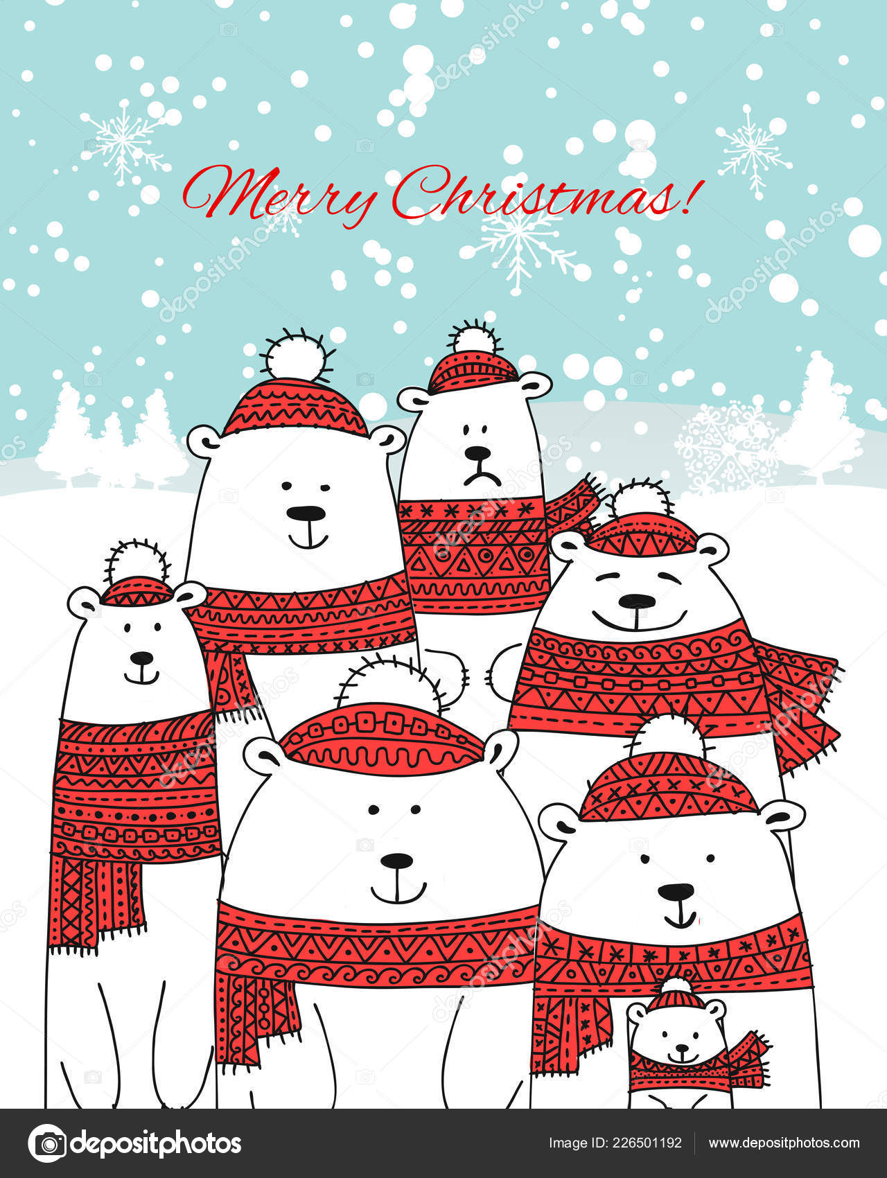 christmas card with white bears big family stock vector