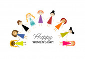 Mezinárodní den žen. Vektorové ilustrace s roztomilými ženami pro vaši designovou kartu, plakát, leták a další. Ženské postavy