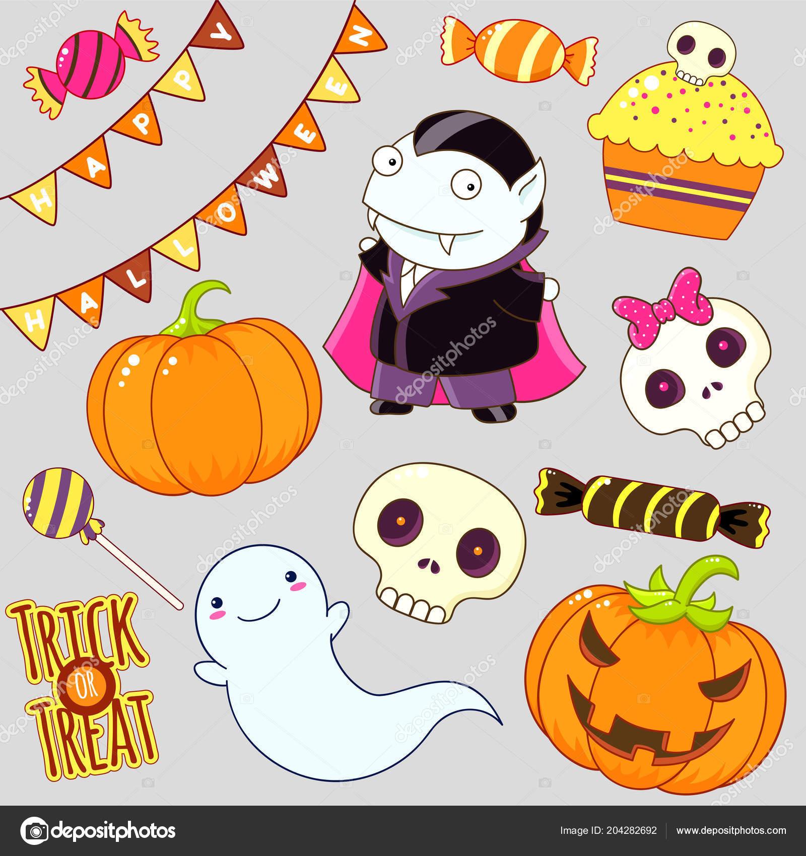Jeu Cute Halloween Personnages Ornements Fantôme Bonbons