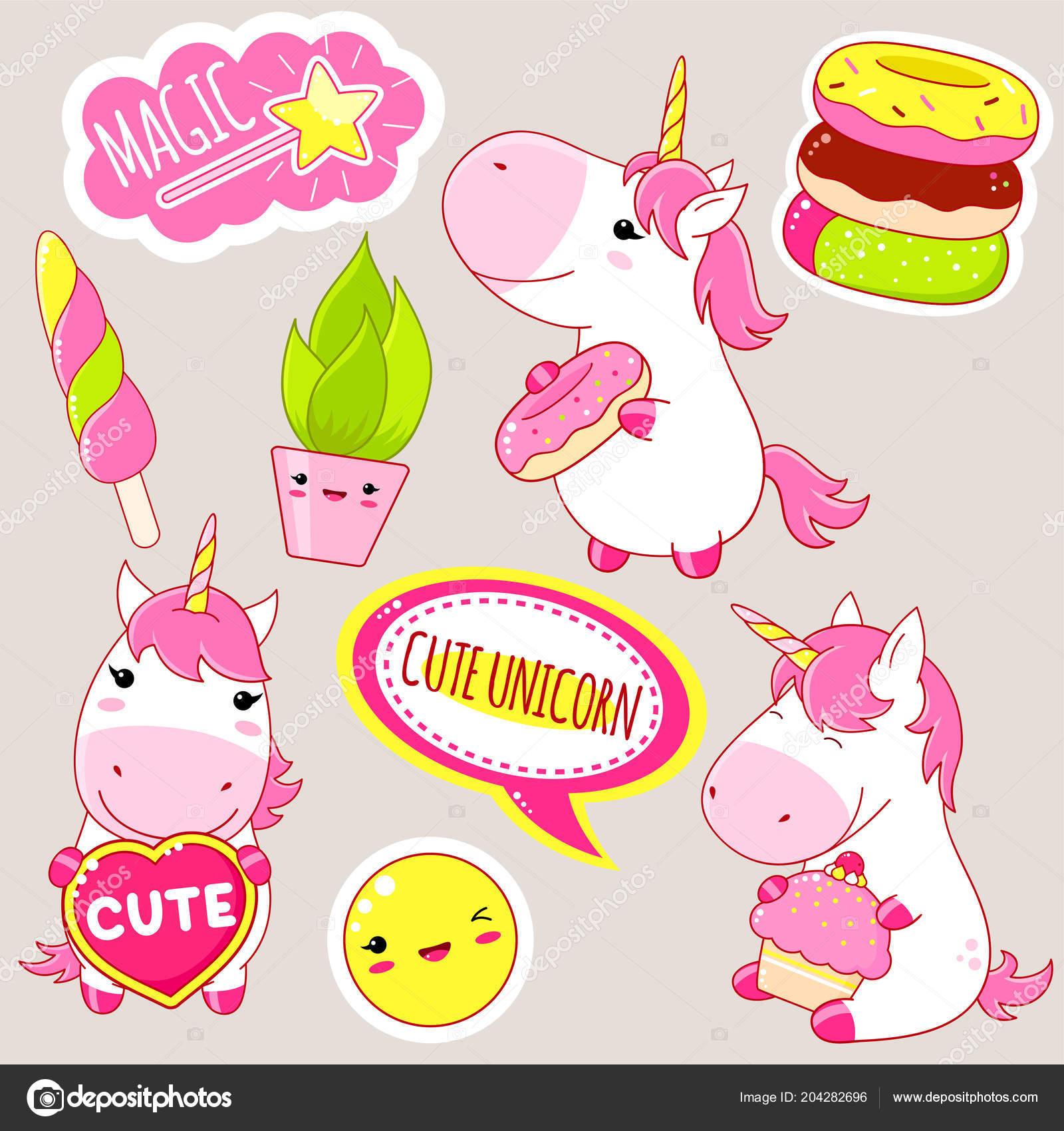 Juego Unicornios Lindos Estilo Kawaii Unicornio Con Donut Pastel