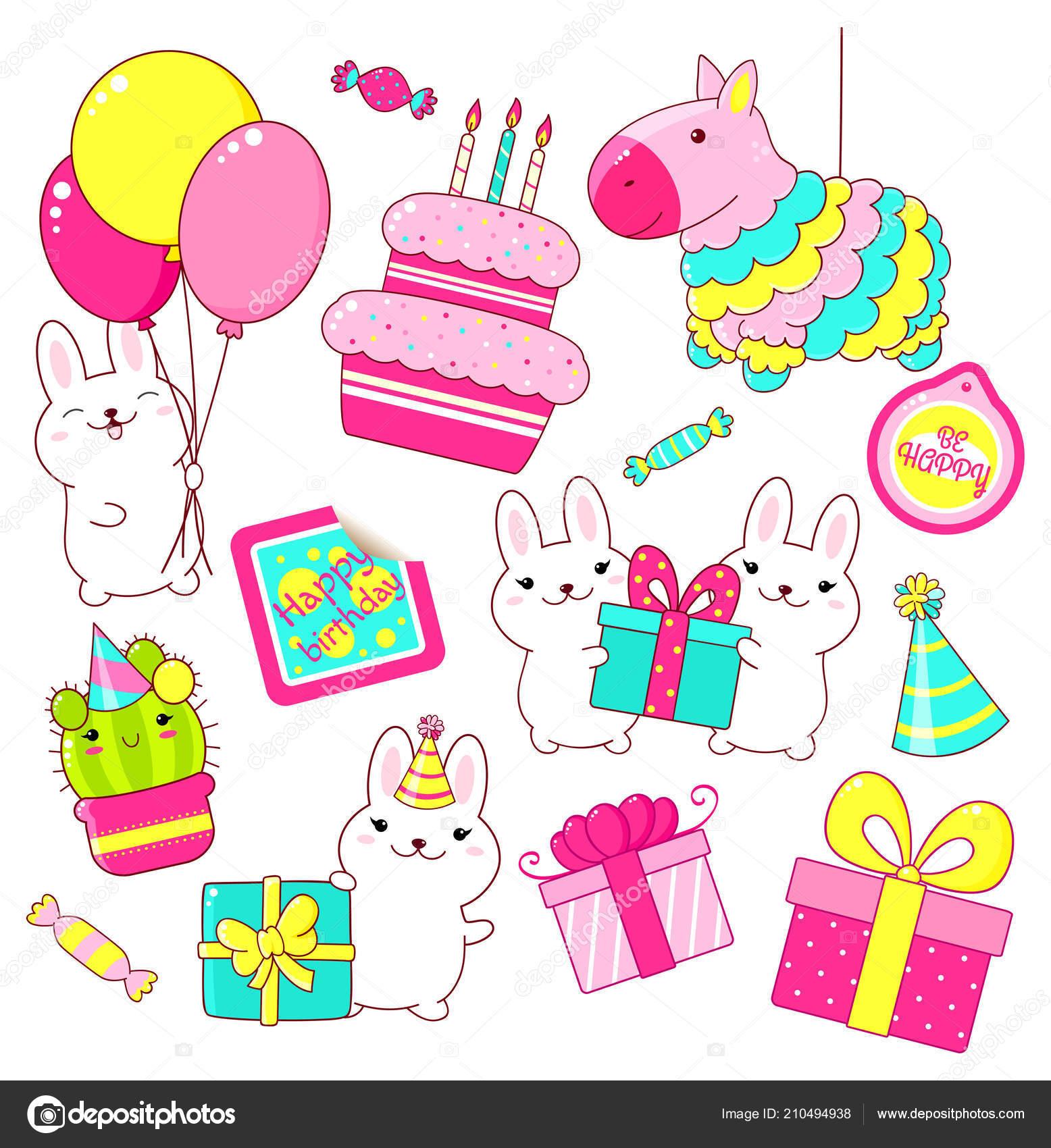 Conjunto de lindo cumpleaños partido los iconos de estilo kawaii. Conejo  con regalo y globos 6889b8571ef