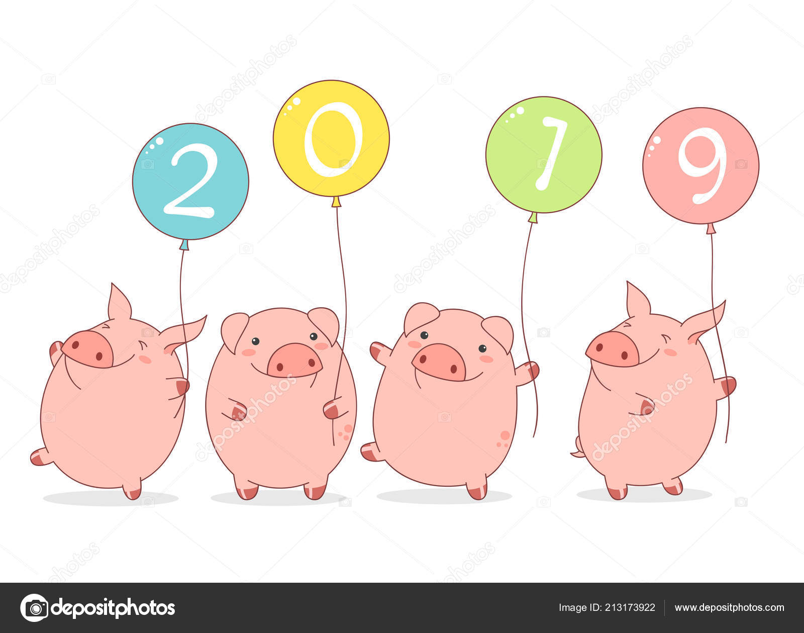 Happy Chinese New Year 2019 Year Pig Four Cute Pigs — Stock Vector