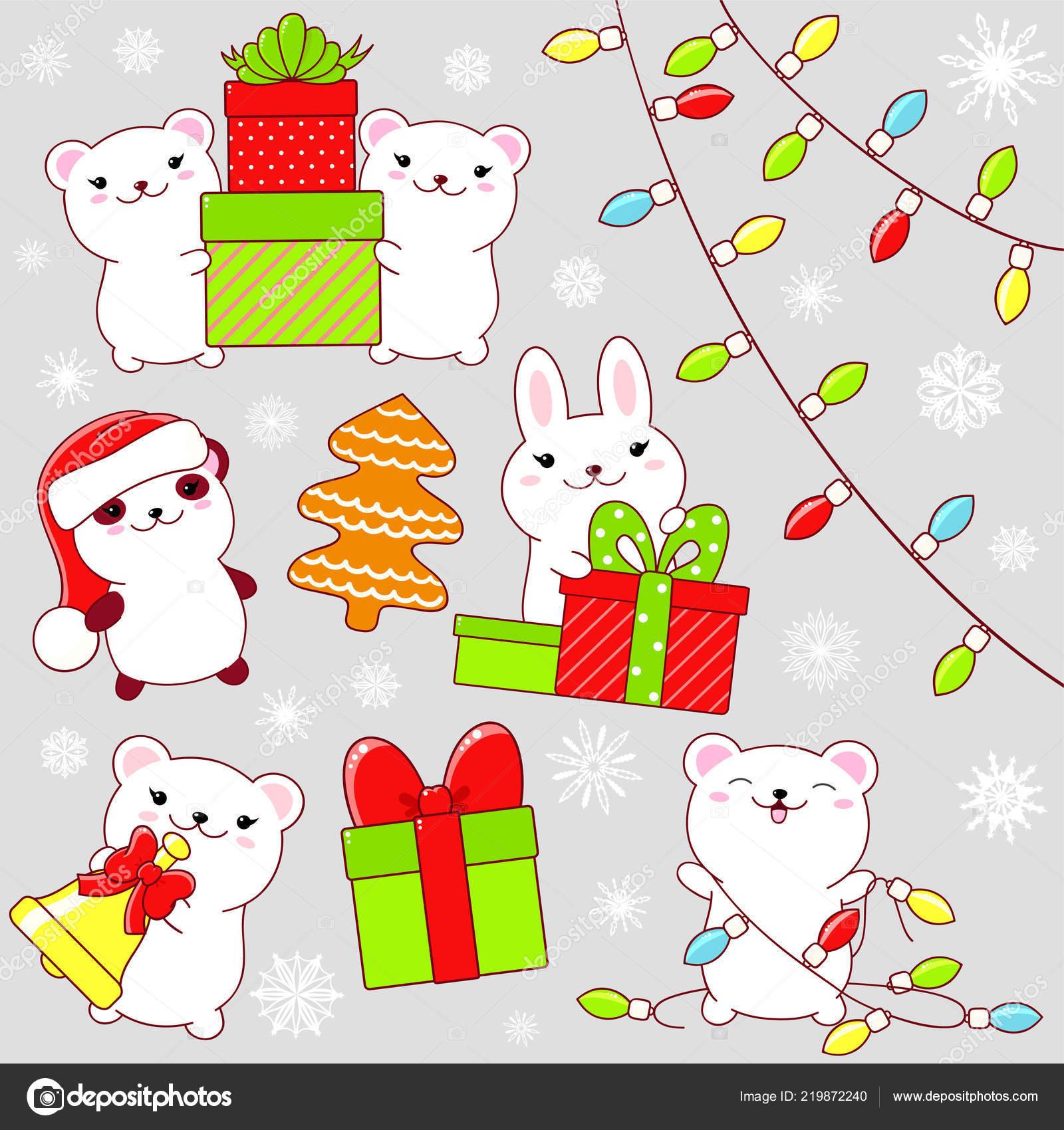 Immagini Carine Natale.Set Icone Natale Carine Stile Kawaii Coniglio Orso Polare