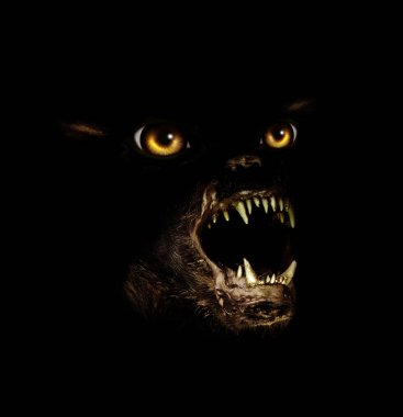 Muzzle of terrible gremlin with grinning mouth and yellow eyes. On black background. 3d render