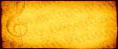 Grunge background with old soiled paper texture, treble clef and abstract note symbols. Mock up template. Copy space for text