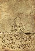 Grunge háttér papír textúra és női táncos apsara, híres mérföldkő Angkor Wat komplex, khmer kultúra, Siem Reap, Kambodzsa. Másold le a szöveged helyét