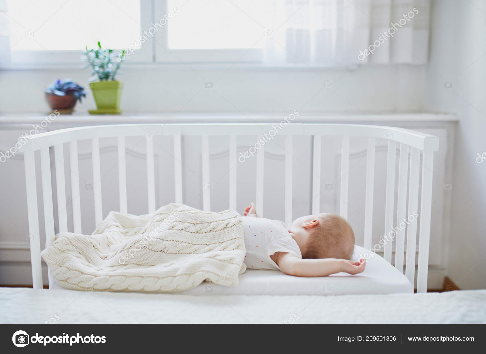 Adorable Baby Girl Sleeping Sleeper Crib Attached Parents ...