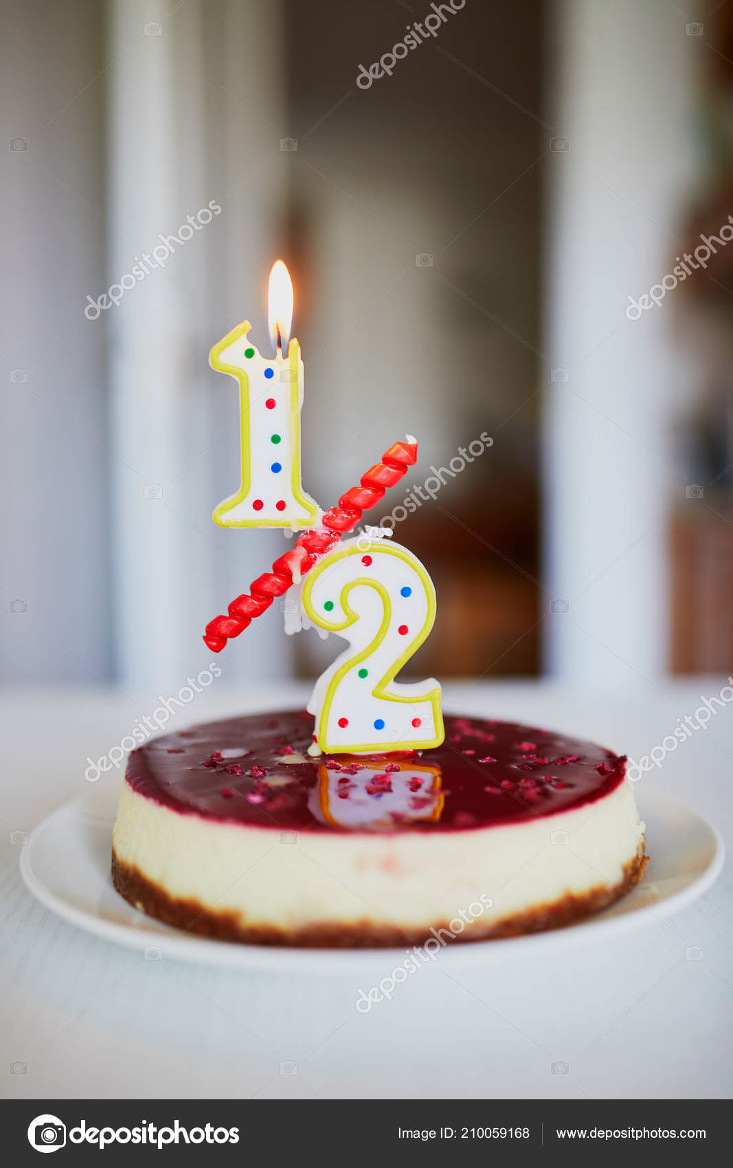 Birthday Cake With Candle On It Creative Way To Celebrate Six Month Of A Baby Anniversary In Form Decimal Meaning Half Year Photo By