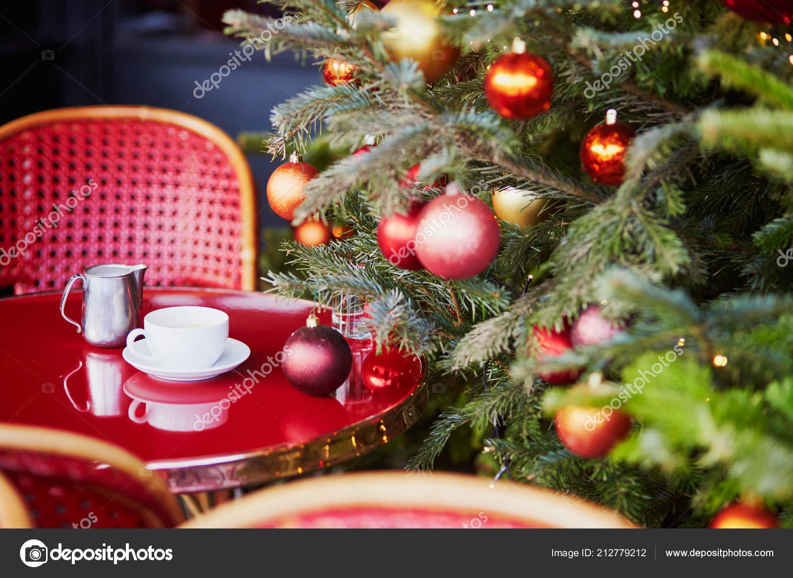 Outdoor Parisian Cafe Beautiful Christmas Tree Decorated Season Holidays Stock Photo C Encrier 212779212