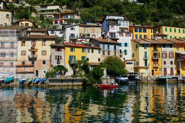 Scenic view of Gandria village near Lugano from the lake, canton of Ticino, Switzerland