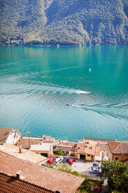 Scenic view to the lake in Gandria village near Lugano, canton of Ticino, Switzerland