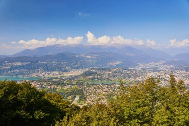 Scenic view to Lugano from mountain San Salvatore