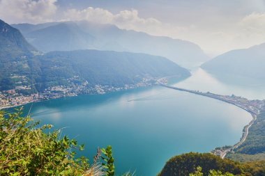 Scenic view to the lake Lugano from mountain San Salvatore