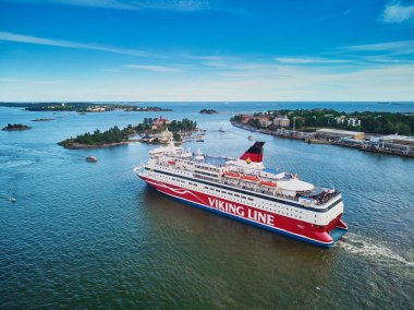 HELSINKI, FINLAND - JUNE 23, 2019: Aerial view of Viking line ferry boat Gabriella leaving port in Helsinki, Finland
