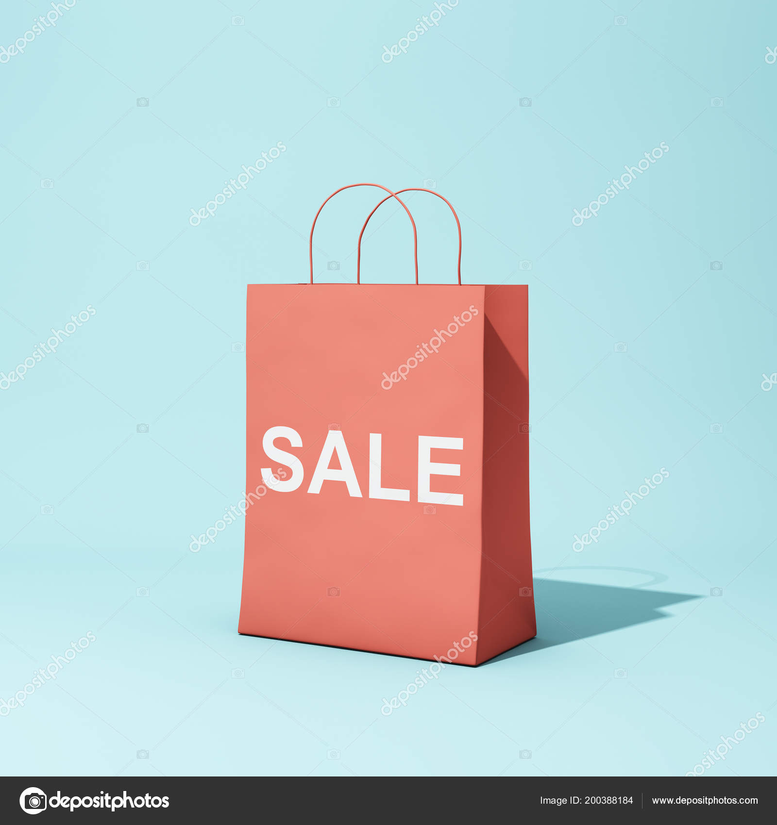eb9ff54238b Red shopping bag with discount on blue background. 3D illustration. — Photo  by Shenki