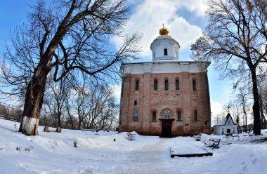 Saint Michael Church of Vydubychi Monastery complex  in wintertime, Kyiv, Ukraine,it was family cloister of Vsevolod's son Vladimir Monomakh