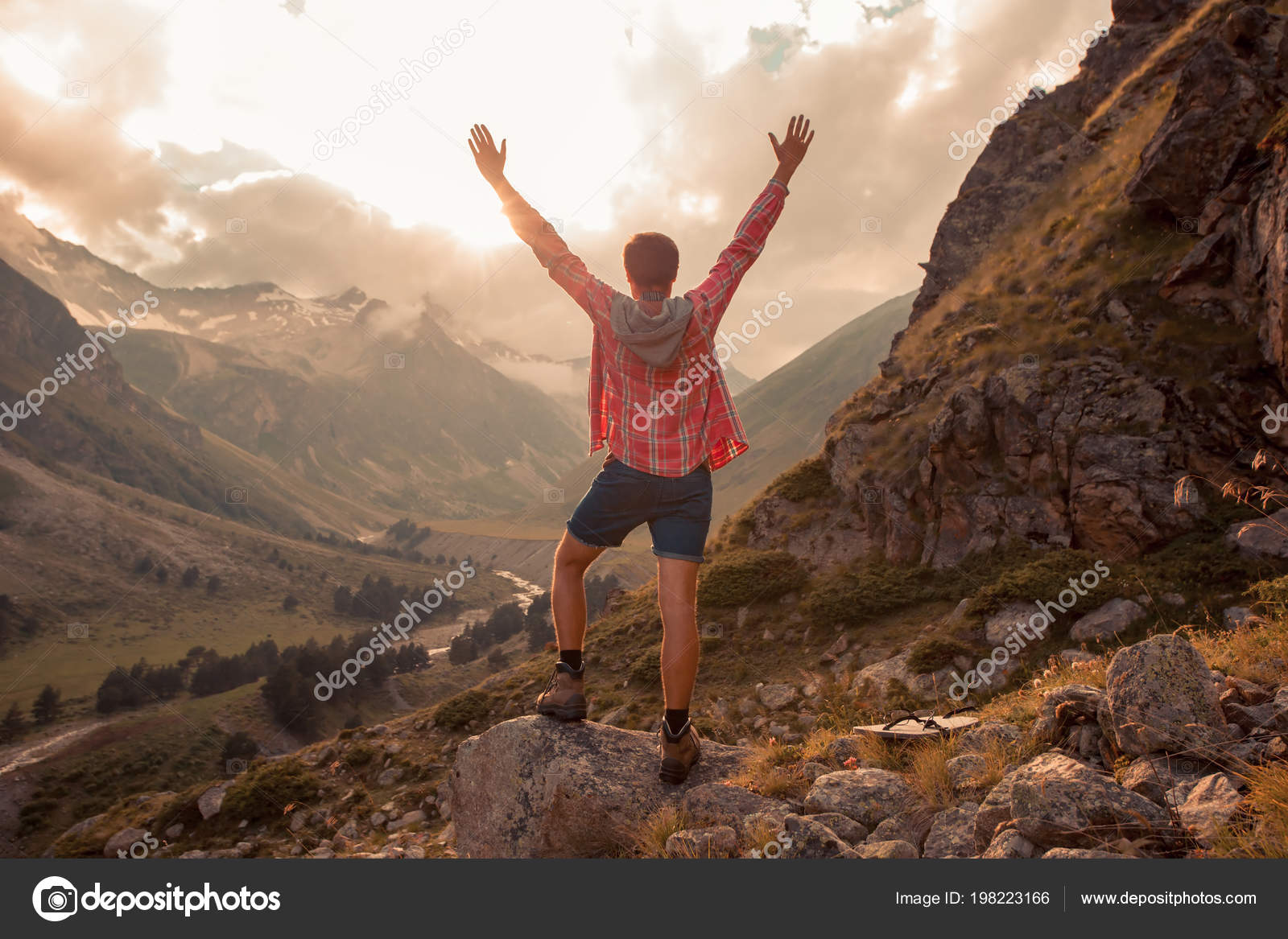 c9ecf0150351 Man Traveler hiking Travel Lifestyle concept beautiful mountains landscape  on background Summer journey adventure vacations outdoor — Photo by Santiaga