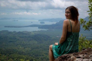 Girl enjoys a beautiful view, Krabi, Thailand