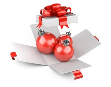 Red christmas balls toys in open white gift box. Isolated on white background 3d illustration.