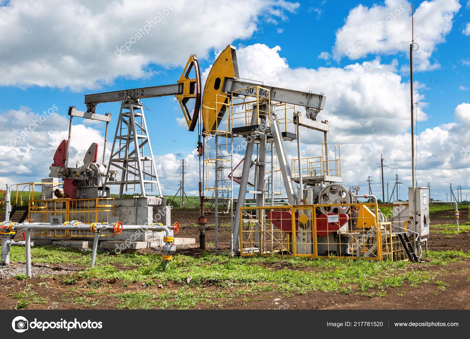 Tatarstan Russia June 2018 Working Pump Jack Fracking Crude