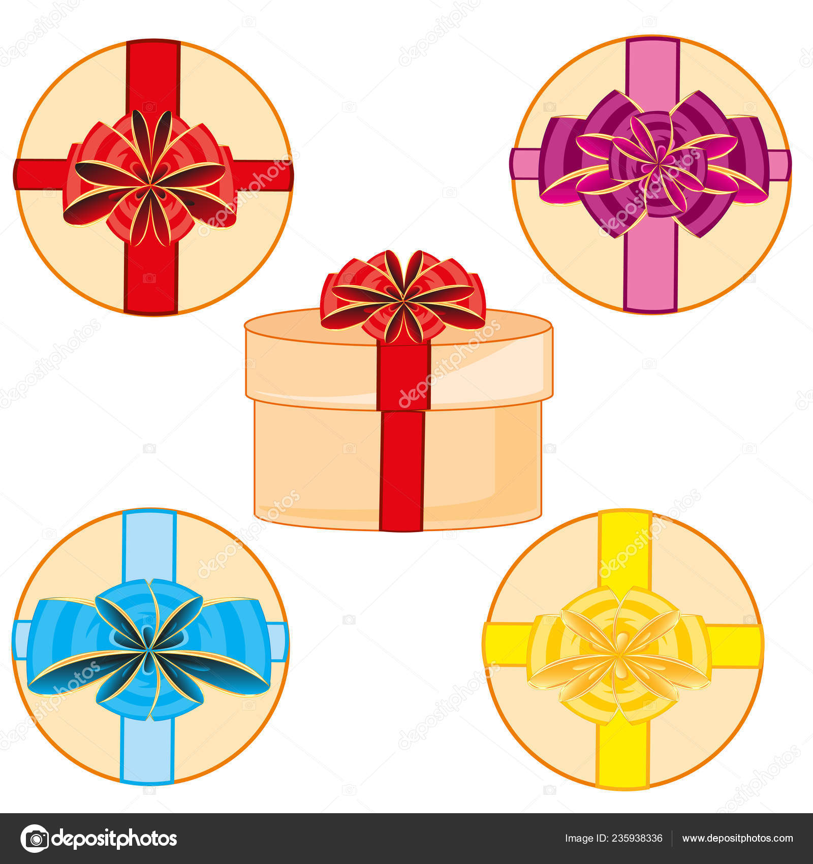 Gift Round Boxes Decorated Decorative Bow Colour Stock Vector