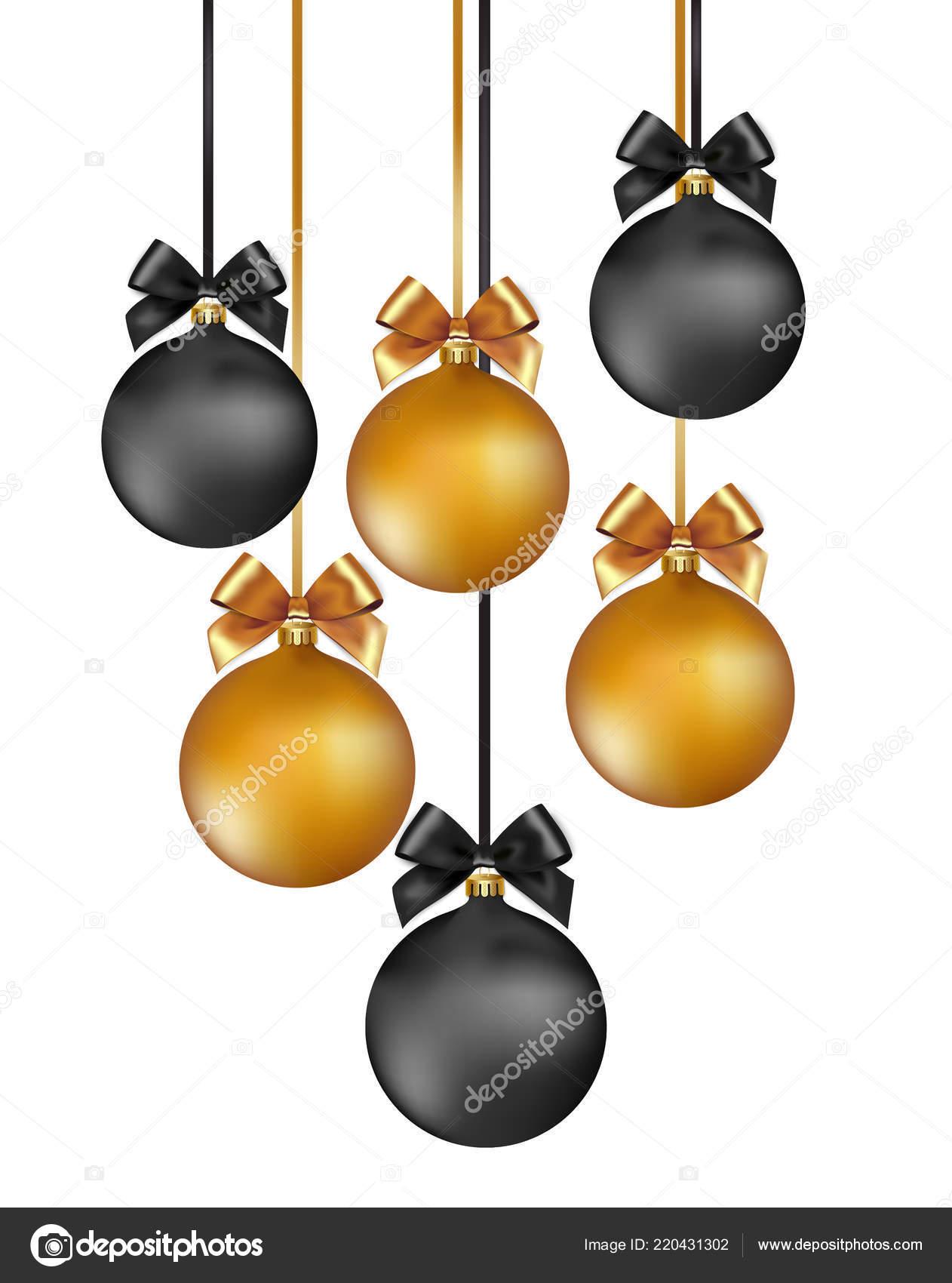 Christbaumkugeln Schwarz Gold.Weihnachten Hintergrund Mit Christbaumkugeln Gold Und