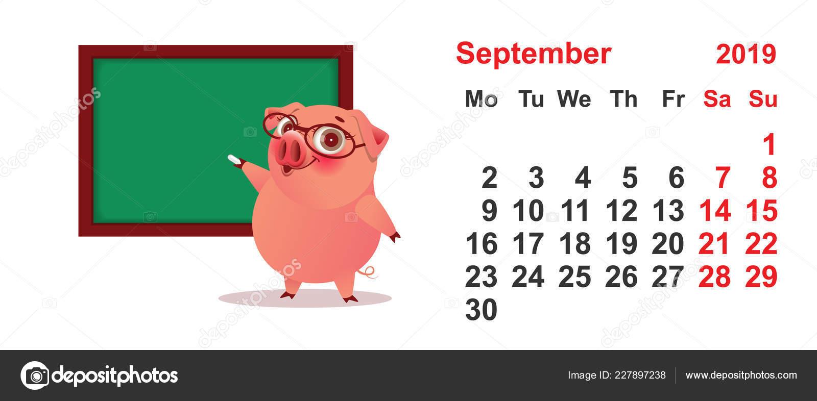 Calendario Dibujo Septiembre.Calendario Septiembre 2019 Ano Cerdo Profesor Pizarra Verde