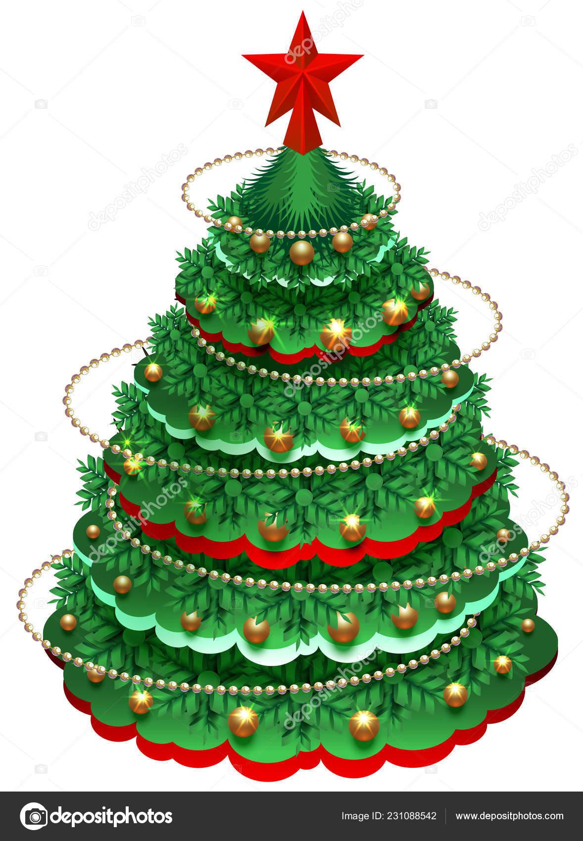 Fiesta árbol Pino Navidad Con Adornos Estrella Aislado Ilustración
