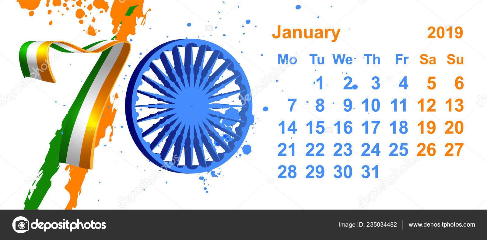 Calendario Repubblica.Bandiera Repubblica Giorno India Anno Gennaio Dati Del