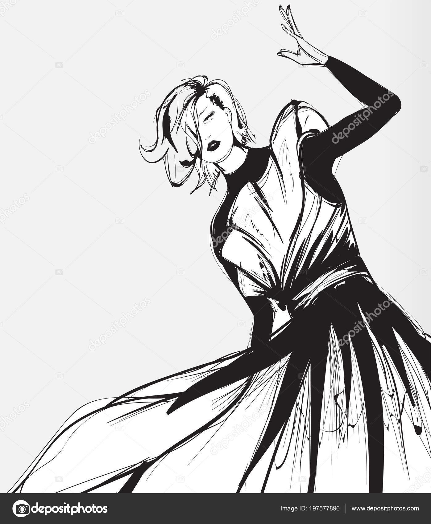 Schwarz Weiß Retro Mode Modell Stil Sketch Hand Gezeichnet Vektor