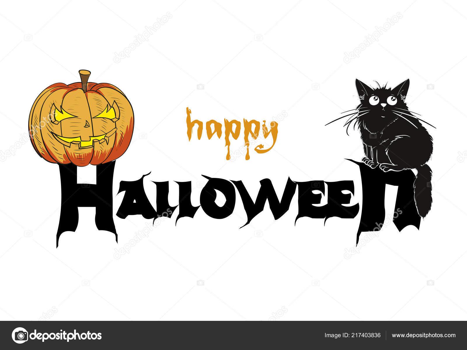 pumpkin cat template halloween party stock vector ice storm