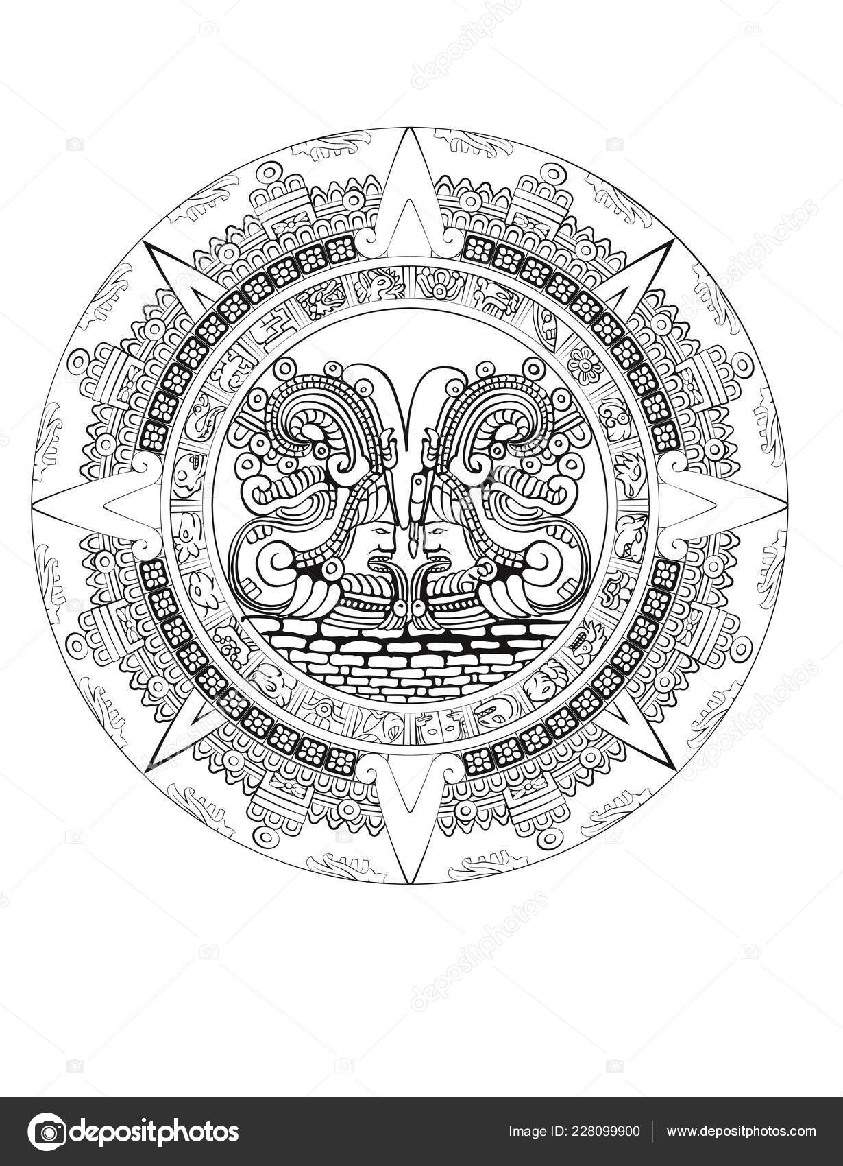 Calendrier Maya Signe.Calendrier Maya Maya Azteque Vecteur Hieroglyphe Signes