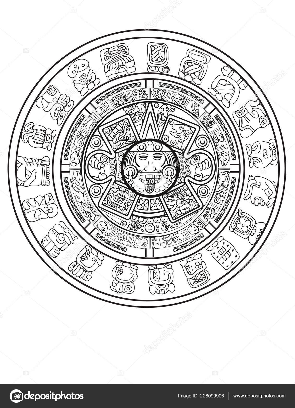 Calendario Azteca Vectores.Maya Calendario Maya Azteca Vector Signos Jeroglificos
