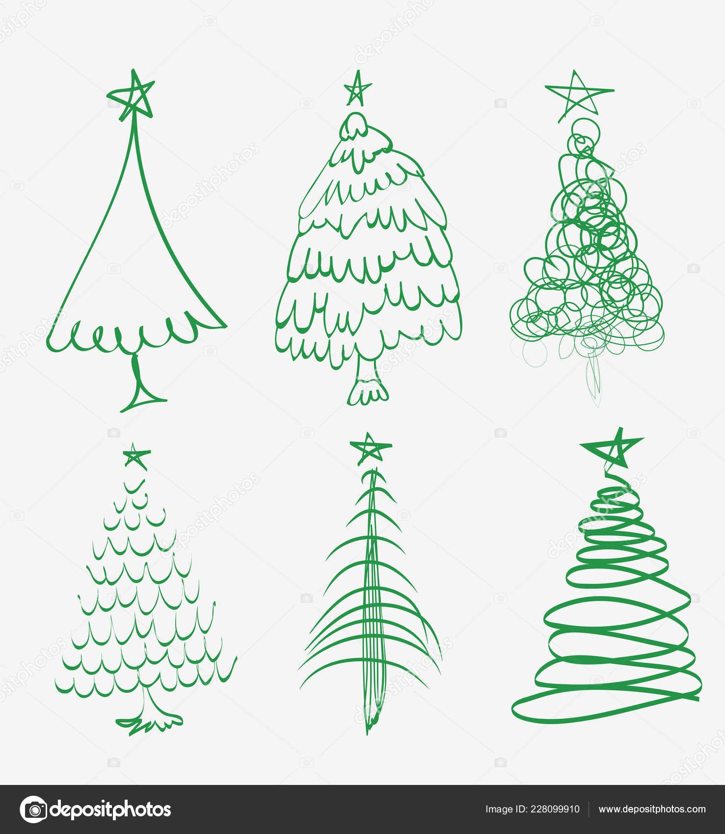 Weihnachtsbaum Gezeichnet.Hand Gezeichnet Weihnachtsbaum Satz Von Skizzierten Abbildungen Von