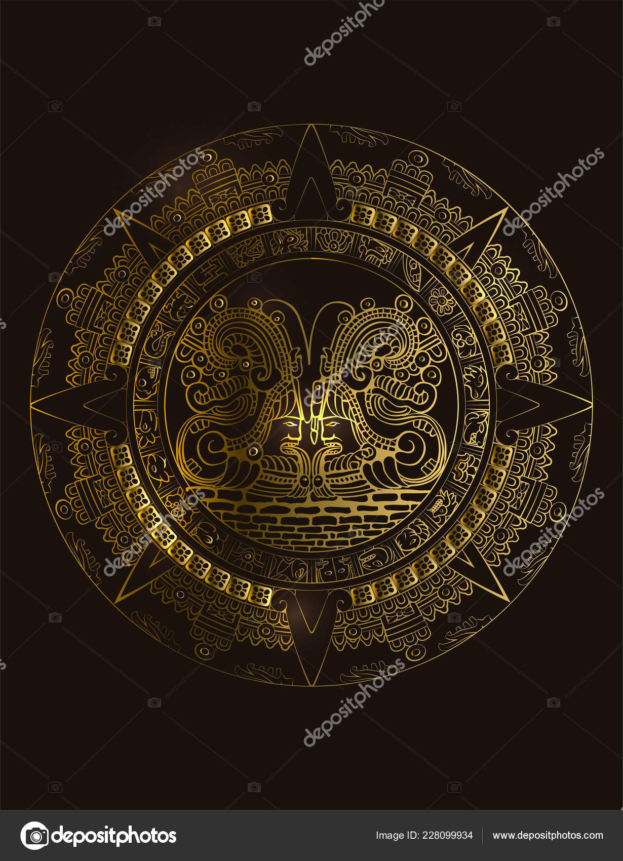 Calendario Inca Simbolos.Maya Calendario Maya Azteca Vector Signos Jeroglificos